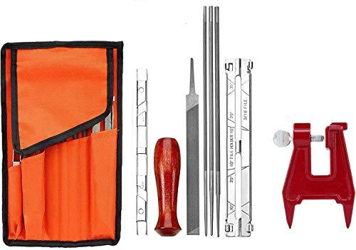 Poweka Affûteuse de chaîne Kit daffûteuse de tronçonneuse pour tronçonneuses Sti-hl avec limes 5/323/16 7/32, manche en bois, jauge de profondeur, guide, sac à outils