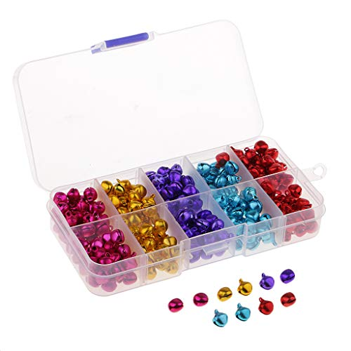 FLAMEER 300 Pack Boxed Jingle Bells Loose Beads Charms DIY Jewelry Craft Decorations