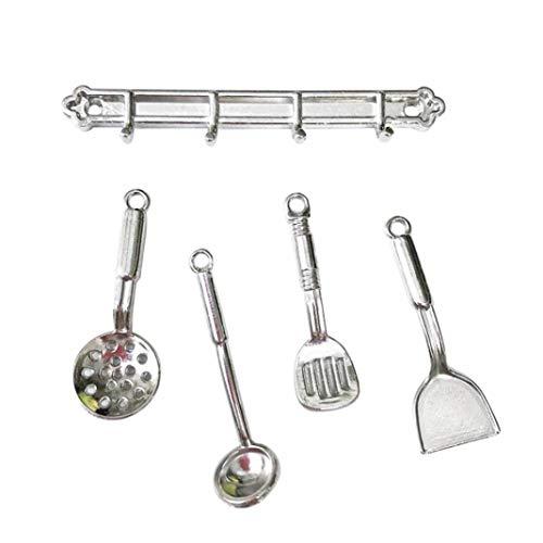 Accesorio de casa de muñecas, 1/12 Mini cuchara simulada pala Set modelo casa de muñecas accesorio de decoración de cocina - plata