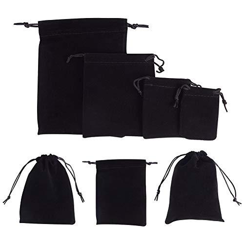NBEADS 32 Bolsas de Terciopelo de 4 Tamaños, Bolsas de Terciopelo Negro con Cordón para Embalaje Fiestas de Boda
