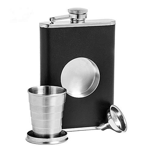 Portable Heupfles 304 roestvrij staal telescopische Portable Outdoor Flagon 8 Oz fles whisky Folding Pocket Wijnglazen Gift Zeer Duurzaam en Veelzijdig (Color : Silver, Size : 8 oz)