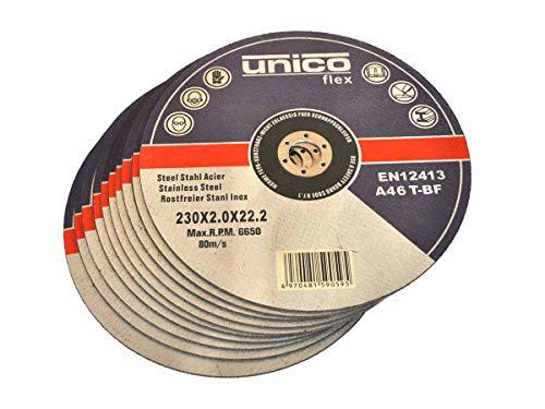 10 Stück Trennscheibe Ø 230mm x 2.0mm für Winkelschleifer Stahl Edelstahl Flexscheibe Inox Metall