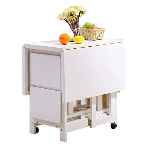 AOIWE Juego de 2 taburetes de 1,2 m, mesa de comedor plegable, hoja de gota, muebles de cocina de madera maciza, Woode natural para grandes espacios pequeños (color: blanco)