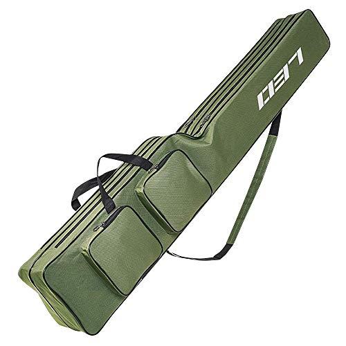 Jhua FishingRodCase, FishingPoleBag Case, Waterproof Fishing Rod Reel Bag Organizer FishingTravelBag, Oxford Large Capacity Fishing Tackle Storage Bag, Great Gift for Family Friends (51 Inch)