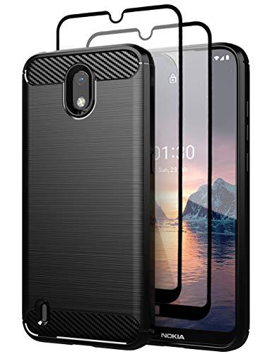 Teayoha hülle für Nokia 1.3 hülle, mit Bildschirmschutzfolie aus gehärtetem Glas, Karbonfaser, kratzfest, stoßdämpfend, weiches TPU, Schwarz