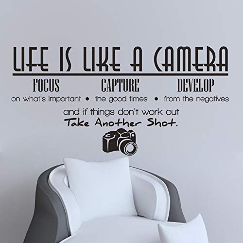 zhuziji Pastel Jungle Wall Stickers,Life is Like A Camera Background Personality Vinyl Waterproof Self-Adhesive Barber Shop, Beauty Salon87x123cm