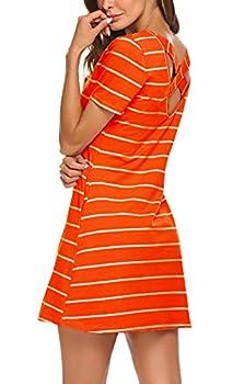 Women s Casual Summer Dresses Striped Criss Cross Short Sleeve T Shirt Dress with Pockets Orange L