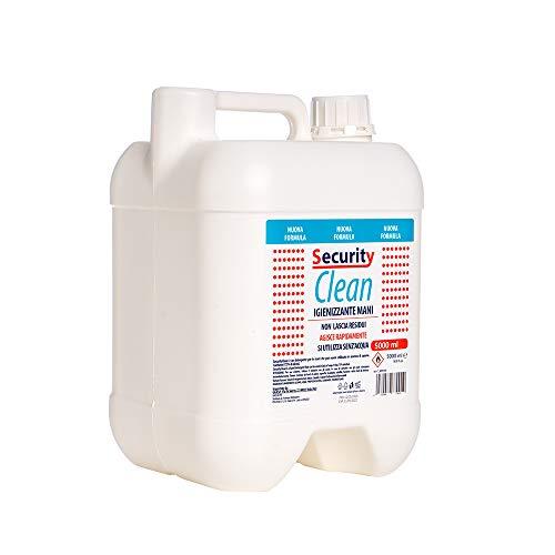 Security Clean Gel Igienizzante Mani Con 63% Alcol Tanica 5 Litri, Perfetto Per Uso Personale, Scuola, Ufficio, Negozio E Come Ricarica Per Colonnine (5000 ML)