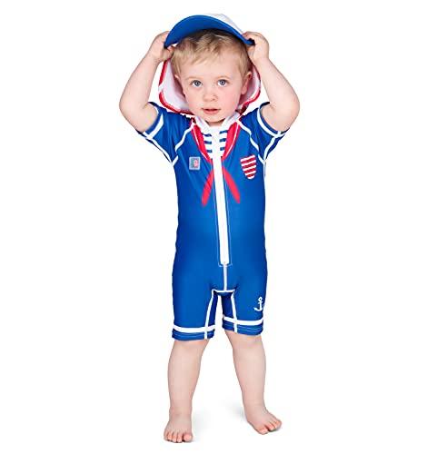 Juicy Bumbles Bañador Bebe Niño - Traje de Baño con Protección Solar Anti UV de Una Pieza para Bebés y Niños Pequeños - Traje de Mangas Cortas UPF50 + Marinero 1-2 Años