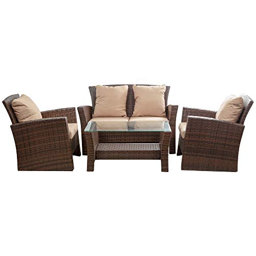 BELLEZE Brasillia Outdoor 4 Pcs Patio Conversation Set Wicker Rattan Sectional Sofa with Cushions & Coffee Table, Brown