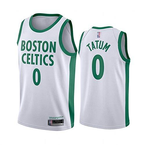 Jerseys De Baloncesto De Los Hombres, NBA Boston Celtics # 0 Jayson Tatum - Ropa Deportiva Clásica Camiseta Sin Mangas, Tops De Confort Sportswear,Blanco,L(175~180CM)