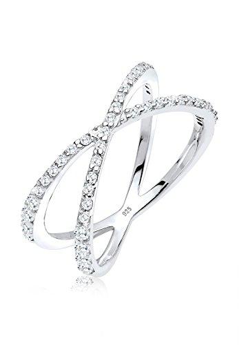 Elli Damen Echtschmuck Ring Wickelring X mit Zirkonia Kristallen in 925 Sterling Silber 54