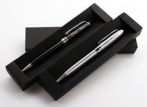 Personalisierter metallischer Kugelschreiber Stift + Geschenkbox | Schaffen Sie ein ganz einzigartiges Geschenk | Lasergravur (Schwarz)