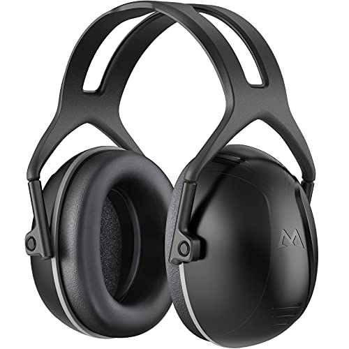Ear Protection, Hearing Protection for Shooting NRR 28dB Noise Reduction Safety Ear Muffs, Adjustable Ear Defenders for Blocking, Hunting, Mowing, Construction, with a Carrying Bag- Black