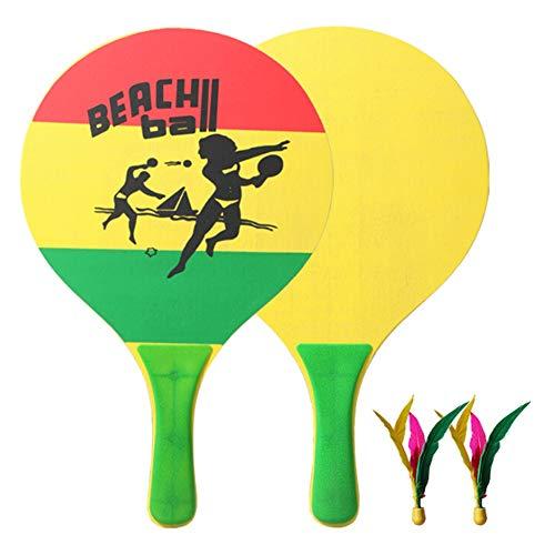 Poseca Badmintonschläger Set Kreativer Cricket-Tennisschläger aus Holz Indoor Outdoor Garden Beach Sports Spielspielzeug