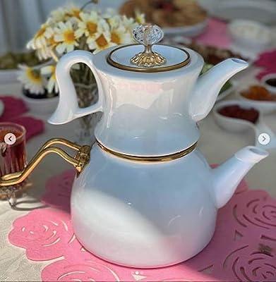 White Teapot Turkish Enamel Porcelain Teapot Vintage Double Container Turkish Enamel Ceramic teapot