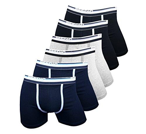 Reedic Herren Boxershorts, Baumwolle, 6er Pack, Größe Medium (M), Farbe je 2x schwarz, grau, dunkelblau