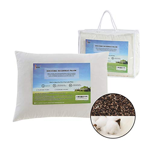 Lofe Buckwheat Hull Fiber Pillow for Sleeping with Organic Cotton Cover, Adjustable Premium Fiber Layer, Japanese Size(14x20), Breathable for Cool Sleep, Cervical Support for Back and Side Sleepers