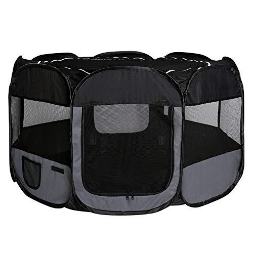 Dibea Pp00256 - Recinto per cani e gatti, pieghevole, per interni ed esterni, nero/grigio