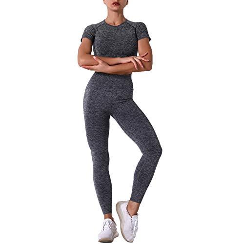 Conjunto de Chándal Mujer Traje de 2 Piezas, Trajes de mujer Trajes de 2 piezas Trajes de yoga inconsútil Ropa de ejercicios Conjunto de manga corta Camisas Top Top altas Cintura Alta Levantamiento Le