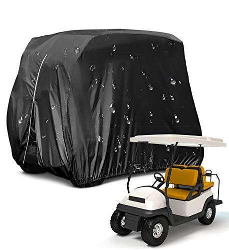 HOMEYA Golf Cart Cover,Waterproof Snowproof Golf Club Cover for 4 Passenger Seat Fit EZ GO,Club Car Precedent,Yamaha Drive Easy-On Golf Carts Cover with Rear Zipper Up to 112 Inch (210D)