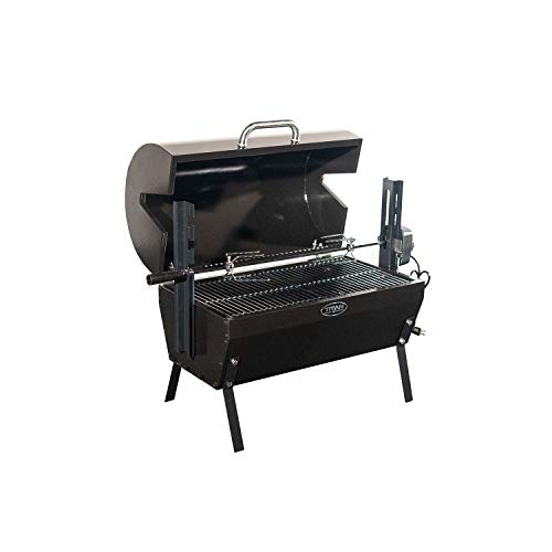 TITAN GREAT OUTDOORS Small Rotisserie Chicken Roaster Grill 28-in Spit Rod Stainless Steel Charcoal BBQ with Hood