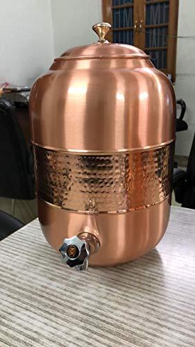 Spacetouch Dispensador de agua de cobre con diseño martillado, dispensador de bebidas heladas, 8 litros con tapa, depósito de agua de cobre y matka