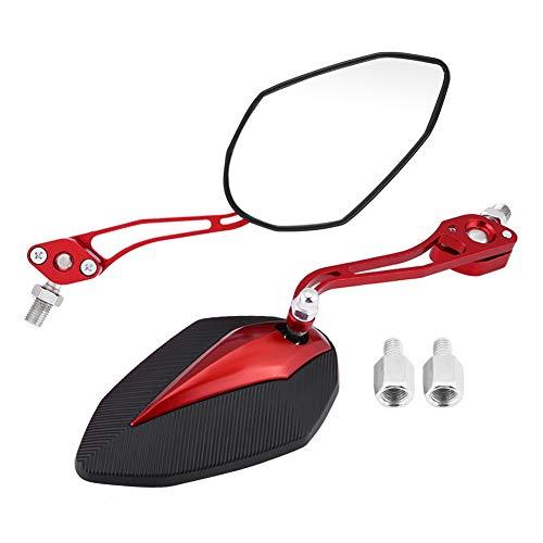 Espejo retrovisor de motocicleta, 1 par 8 mm 10 mm Universal Moto Scooter Espejo retrovisor de motocicleta Espejos retrovisores Espejo lateral Espejo retrovisor(rojo)