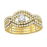 Diamond Engagement Rings For Women 1.0 Carat Bridal Set Trio Wedding Ring Brilliant Cut Diamond (E-F, SI1-SI2) Bridal Ring & Band Set for Women   14K Solid White Rose Yellow Gold   Wedding/Engagement Jewelry Collection