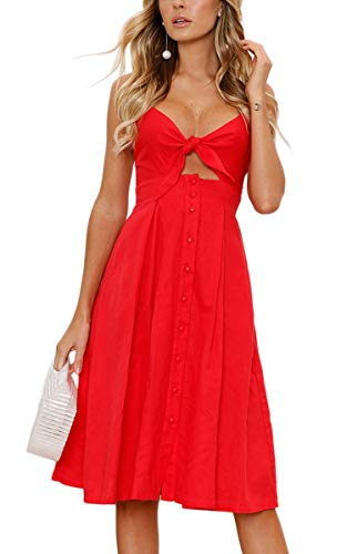 ECOWISH Womens Dresses Summer Tie Front V-Neck Spaghetti Strap Button Down A-Line Backless Swing Midi Dress Red XL (Apparel)