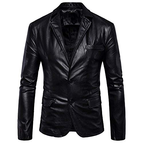 of boys bowling jackets iLXHD Mens Slim Fit Single Breasted Two Button PU Leather Blazer Jacket
