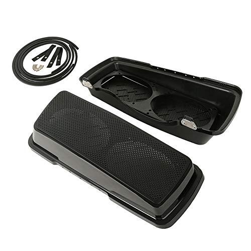 XMT-MOTO Vivid Black Hard Saddlebag Speaker Lids w/Dual 6 x 9 inch speaker grilles fits for Harley Davidson Touring Road Street Glide 1993-2013