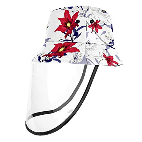 Kids Summer Play Hat UPF 50+ Bucket Travel Hat Removable Sun Cap for Boys and Girls - Lily Flower Kapok White Red