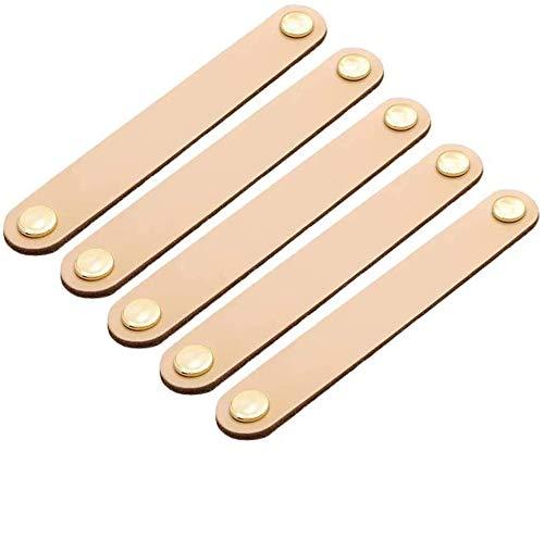 6 tiradores de cajón a mano de piel cómoda armario pomos tiradores de puerta ajustable cocina tirador de botones con tornillos (distancia de hole 128 mm, amarillo)