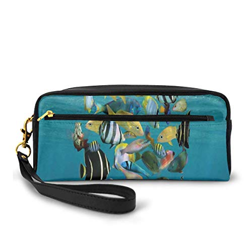Pencil Case Pen Bag Pouch Stationary,Shoal of Fish Forming A Circle Above A Sandy Seabed in Clear Water Caribbean Ocean,Small Makeup Bag Coin Purse