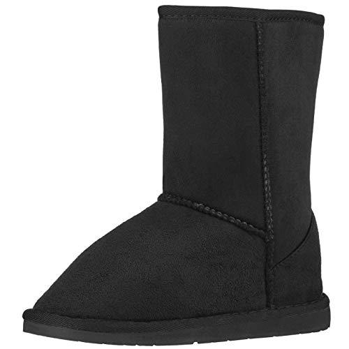 CLOVERLY Women's Winter Snow Boots Vegan Leather Classic Short Mid-Calf Fur Boots (11 M US, Black)