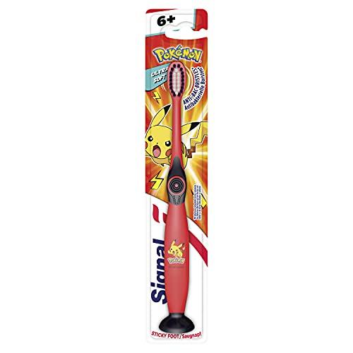 Signal Junior Zahnbürste (für Kinder ab 6 Jahren mit flexiblen V-Borsten Ultra Soft ), mit Saugnapf, Farblich und Modell sortiert