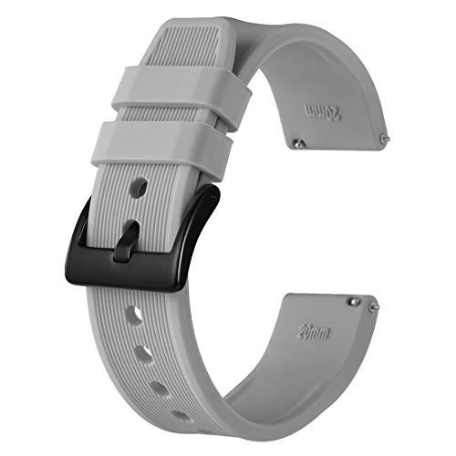 Anbeer Correa de Reloj de Silicona 18mm 20mm 22mm 24mm, Banda de Repuesto de Goma de Liberación Rápida, Pulsera para Hombres y Mujeres
