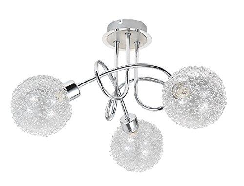 Trango 3-flamme Plafonnier TG1002-38 en chrome avec 3x 3.5 Watt G9 LED illuminant 3.000K couleur de lumière blanche chaude, lumière de salle de bain, lumière de couloir, lumière de cuisine, lustre