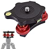 Fotoconic Photography Tripod Level Head Tri-Wheel Leveling Base with Three Bubble Levels and 3 Dials for +/-5 Degree Precision Adjustment, 3/8 inch Screw Leveler