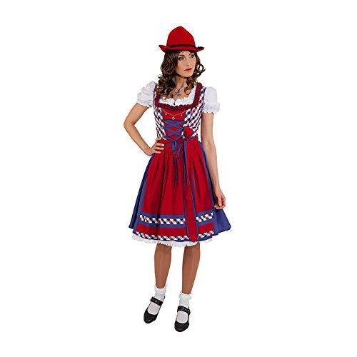 PARTY DISCOUNT NEU Damen-Kostüm Dirndl Doro, rot-blau, Gr. 44