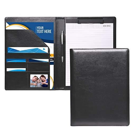 RIN DEN クリップボード バインダー 二つ折り a4 革 カード名刺入れ メモ用紙ペン付箋付き 軽量 高級感
