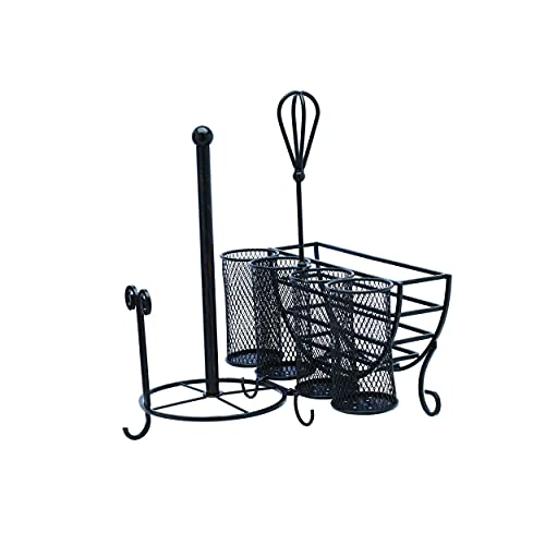 Gourmet Basics by Mikasa Avilla Picnic Plate Napkin and Flatware Storage Caddy with Paper Towel Holder, Complete Service, Antique Black