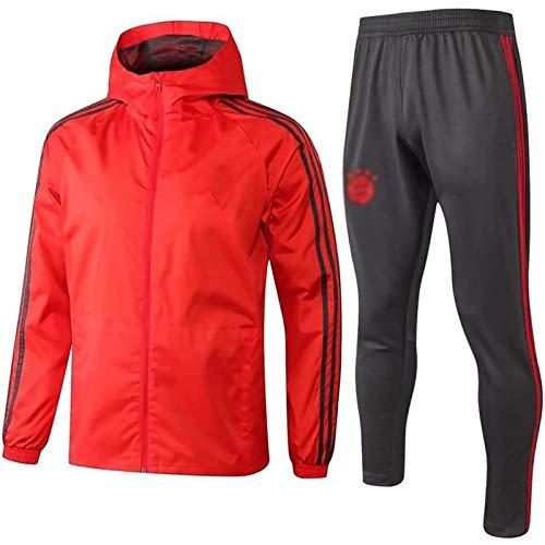 European Football Club Männer Fußball Sweatshirt Langarm Frühling und Herbst Sport Red Trainings-Uniform (Top + Pants) -ZQY-A0357 (Color : Red, Size : XL)