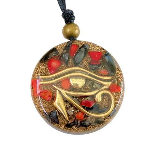 Orgonite Necklace, Eye of Horus, Amulet of Protection - SBB Coil Tourmaline, Onyx, Pyrite, Coral - Yoga, Meditation, Reiki, Healing Crystals Handmade, Arte Orgones