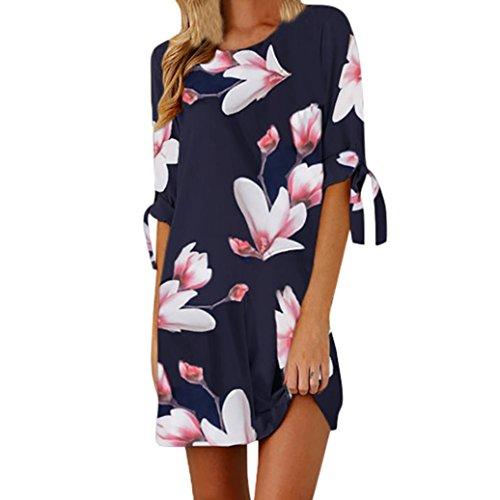 ESAILQ Damen Vintage Sommerkleid Traeger mit Flatterndem Rock Blumenmuster Frauen Rundhals Casual Loose T-Shirt Kleid(XL,Blau)