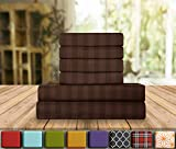 Elegant Comfort Luxury Soft Bed Sheets Dobby Stripe 1500 Thread Count Percale Egyptian Quality Softness Wrinkle and Fade Resistant (6-Piece) Bedding Set, Queen, Espresso Brown
