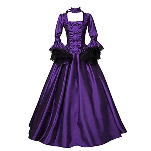 CYGGA Damer medeltida gotisk klänning spets satin trumpetärm golvlång retro kostym plagg viktoriansk renässans prinsesskläder, lila, XL