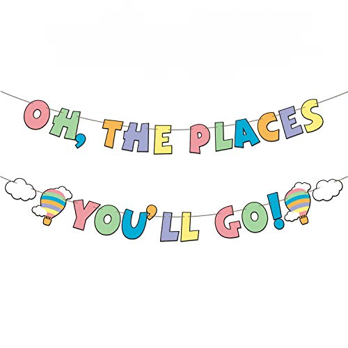 Oh The Places You'll Go Banner Colorful Dr. Seuss Inspired Adventure Awaits Garland Hot Air Balloon Cloud Decorations for Travel Themed Baby Shower Birthday Graduation Party Supplies Photo Props