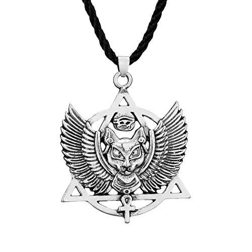 Chereda Ancient Bastet Collar egipcio para mujeres hombres gato egipcio Ankh amuleto colgantes collares vintage joyería